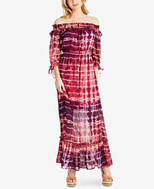 Jessica Simpson Juniors' Dahlia Printed Off-The-Shoulder Maxi Dress