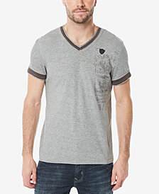 Buffalo David Bitton Men's Kuril Contrast hem V-Neck T-Shirt