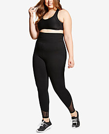Soffe Curvy Plus Size Mesh Compression Leggings