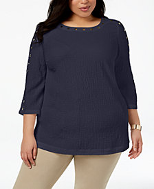 JM Collection Plus Size Studded Crinkle Top, Created for Macy's