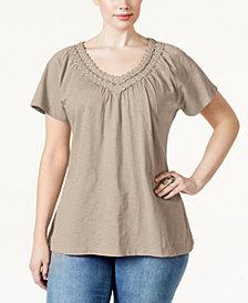 Karen Scott Plus Size Crochet V-Neck Tee, Created for Macy's