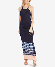 Jessica Simpson Juniors' Teslie Macrame-Neck Tie-Dyed Maxi Dress