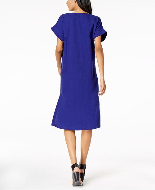 Violet Neck Eileen Shift Blue V Fisher Dress Cotton Organic xwwIRTAnq8
