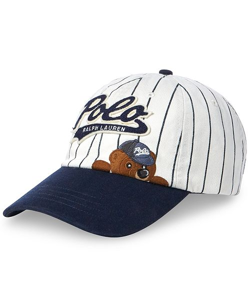 687ad462 ... Baseball Cap; Polo Ralph Lauren Men's Polo Bear Pinstripe Baseball ...