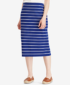Lauren Ralph Lauren Petite Striped Midi Skirt