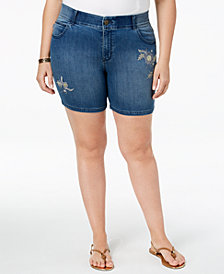 Lee Platinum Plus Size Embroidered Denim Shorts