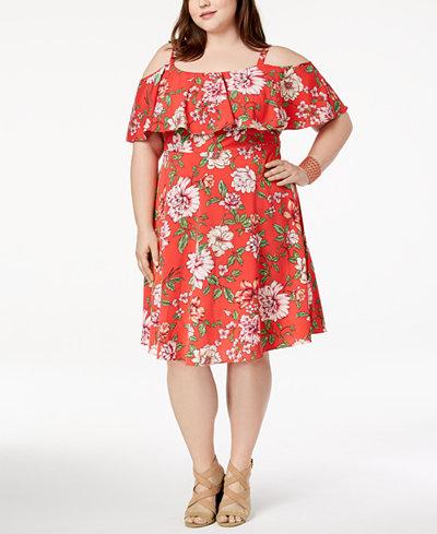Soprano Trendy Plus Size Cold-Shoulder A-Line Dress