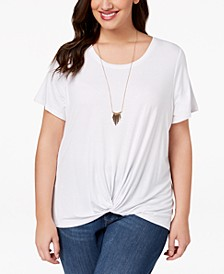 Plus Size Twist High-Low Hem Top, Created for Macy's