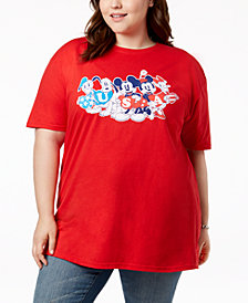 Disney Plus Size Cotton U.S.A Graphic T-Shirt