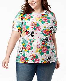 Disney Plus Size Mickey Mouse Tropical-Print T-Shirt
