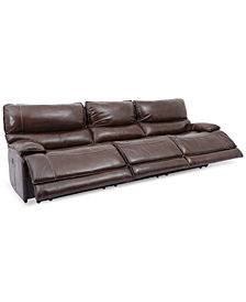 "Woodyn 122"" 3-Pc. Leather Power Reclining Sofa With 3 Power Recliners, Power Headrests, Lumbar And USB Power Outlet"