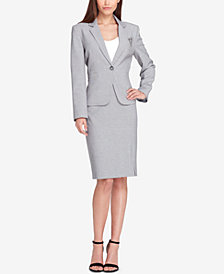 Tahari ASL Embellished One-Button Skirt Suit