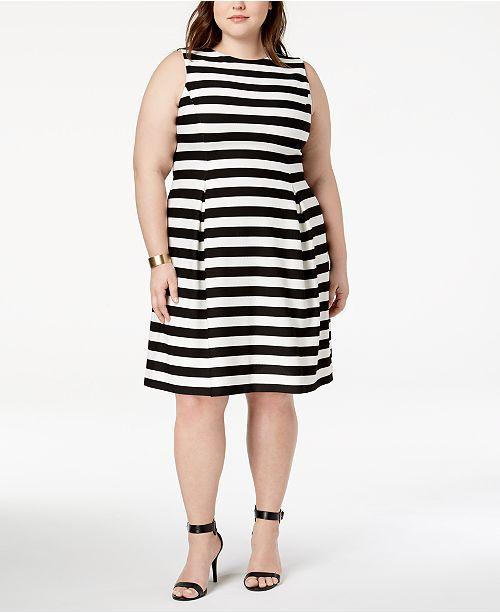 1881b559c3f Jessica Howard Plus Size Striped Fit   Flare Dress - Dresses - Women ...