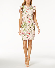 Tommy Hilfiger Floral-Printed Flutter-Sleeve Sheath Dress