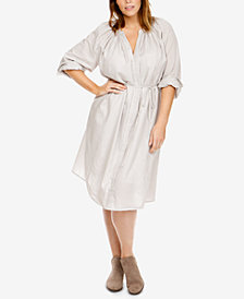 Lucky Brand Trendy Plus Size Cotton Striped Shirtdress
