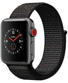 Apple Watch Series 3 (GPS + Cellular), 38mm Space Gray Aluminum Case with Black Sport Loop