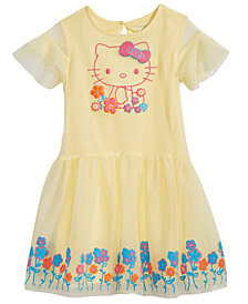 Hello Kitty Little Girls Graphic-Print Swiss Dot Dress