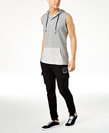 American Rag Henley Tank Hoodie & Cargo Knit Jogger Pants, Created for Macy's
