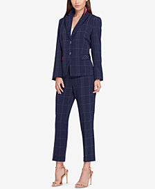 Tahari ASL Two-Button Windowpane-Print Pantsuit, Regular & Petite