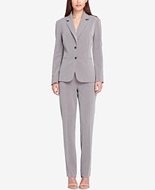 Tahari ASL Two-Button Pinstriped Pantsuit