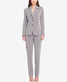Tahari ASL Two-Button Pinstriped Pantsuit
