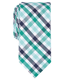 Bar III Men's Herringbone Triple Gingham Skinny Tie, Created for Macy's