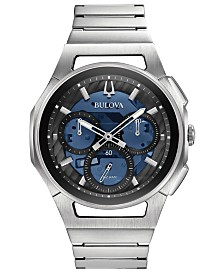 Bulova Men's Chronograph Curv Stainless Steel Bracelet Watch 44mm