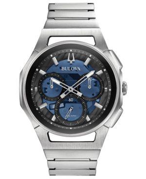 BULOVA Men'S Chronograph Curv Stainless Steel Bracelet Watch 44Mm in Blue/Silver