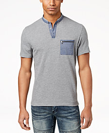 I.N.C. Men's Contrast Pocket Henley, Created for Macy's
