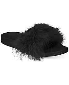 I.N.C. Women's Faux-Marabou Slide Slippers, Created for Macy's