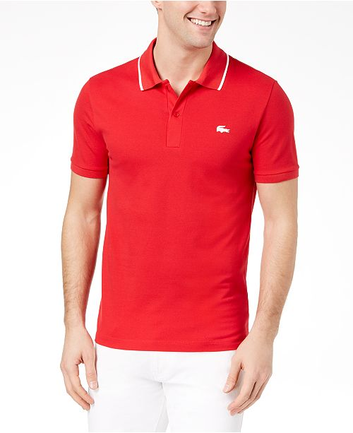 e0b79b9c0b97 Lacoste Men s Slim-Fit Fancy Stretch Polo   Reviews - Polos - Men ...