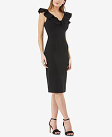 JS Collections Ruffled Sheath Dress