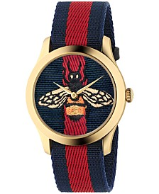 Gucci Unisex Swiss Le Marché des Merveilles Blue-Red-Blue Web Nylon Strap Watch 38mm
