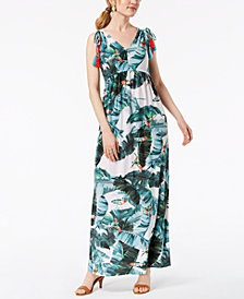 John Paul Richard Petite Printed Shoulder-Tie Maxi Dress