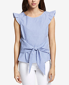 Sanctuary Cotton Ruffled-Sleeve Top