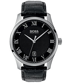 BOSS Hugo Boss Men's Master Black Leather Strap Watch 42mm
