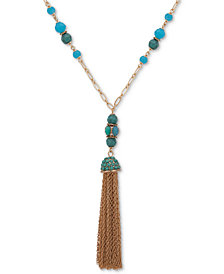 "Anne Klein Gold-Tone Pavé, Bead & Chain Tassel 38"" Pendant Necklace"