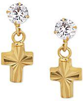 Children's Cubic Zirconia Cross Drop Earrings in 14k Gold