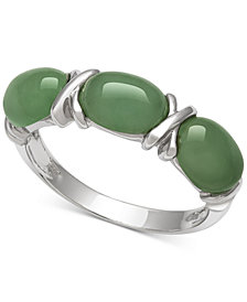 Dyed Jadeite (5mm x 7mm) Ring in Sterling Silver