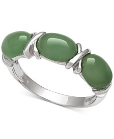 Dyed Jade  (5mm x 7mm) Ring in Sterling Silver