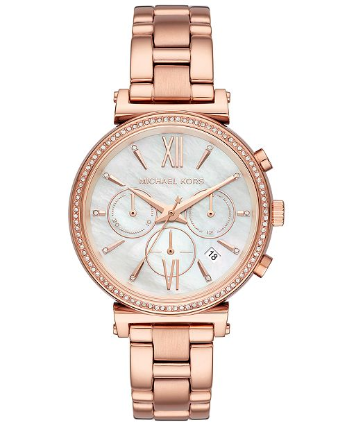 Michael Kors Women's Sofie Rose Gold-Tone Stainless Steel Bracelet Watch 39mm