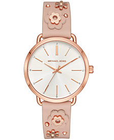 Michael Kors Women's Portia Pink Leather Floral Strap Watch 37mm