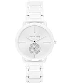Michael Kors Women's Portia White Stainless Steel Bracelet Watch 37mm, Created for Macy's