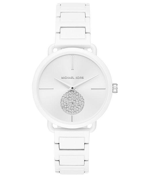 3e704be462cc ... Michael Kors Women s Portia White Stainless Steel Bracelet Watch 37mm