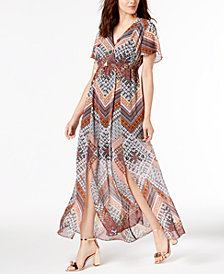 I.N.C. Flutter-Sleeve Maxi Dress, Created for Macy's