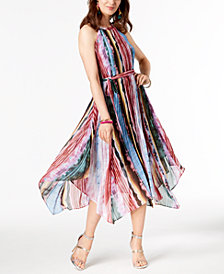I.N.C. Pleated Halter Rainbow Dress, Created for Macy's