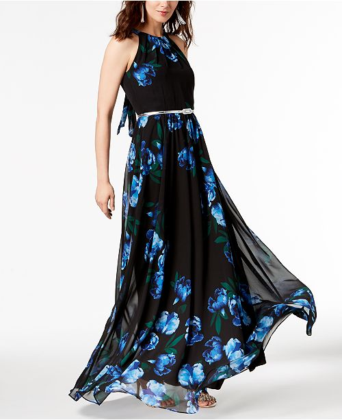 2670f2b790fe ... INC International Concepts I.N.C. Petite Printed Belted Halter Maxi  Dress, Created for Macy's ...