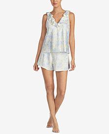 Lauren Ralph Lauren Satin Ruffled-Neckline Pajama Set
