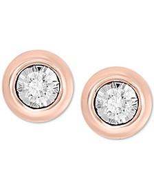 Bubbles by EFFY® Diamond Bezel Frame Stud Earrings (1/5 ct. t.w.) in 14k Rose Gold