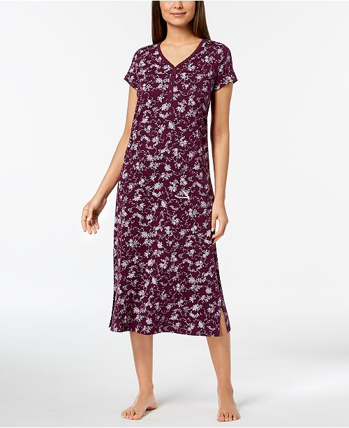 Print Macy's Trim Rose Created Club for Charter Nightgown Plum Sherry Picot w8EUgpCq